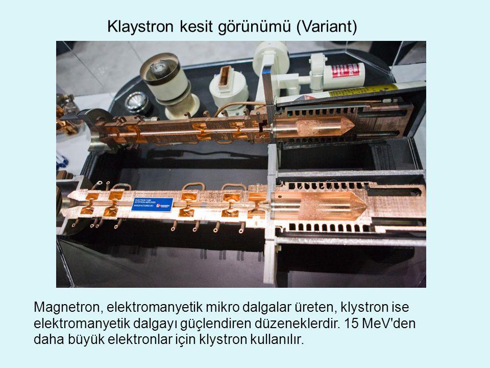 Klaystron kesit görünümü (Variant) Magnetron, elektromanyetik mikro dalgalar üreten, klystron ise elektromanyetik dalgayı güçlendiren düzeneklerdir.