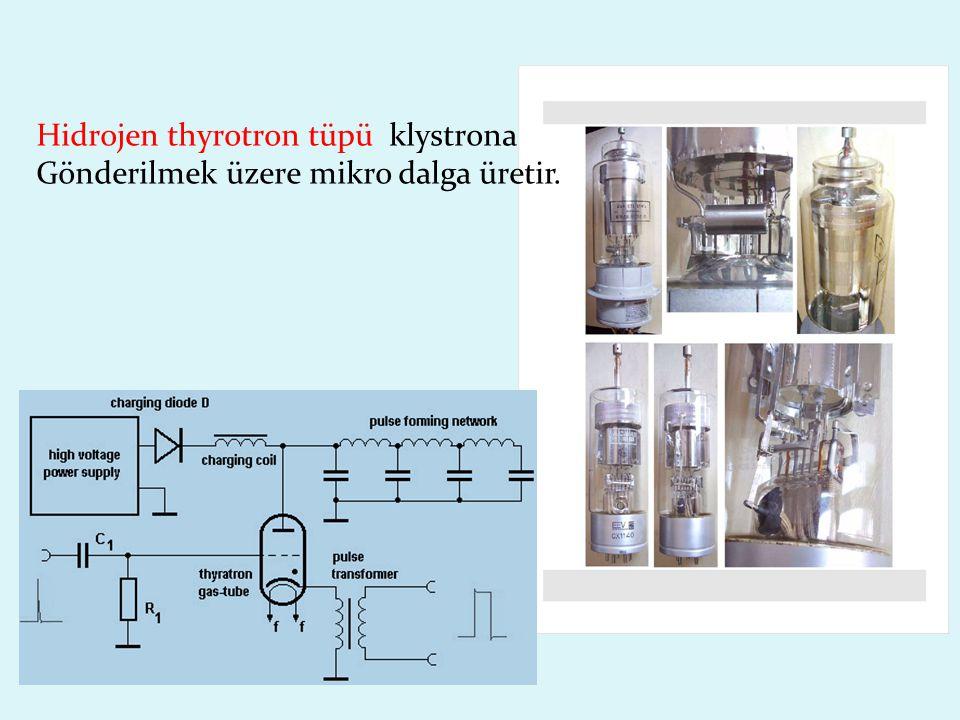 Hidrojen thyrotron tüpü klystrona Gönderilmek üzere mikro dalga üretir.