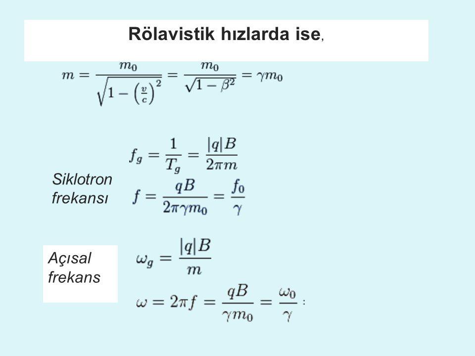Rölavistik hızlarda ise, Açısal frekans Siklotron frekansı