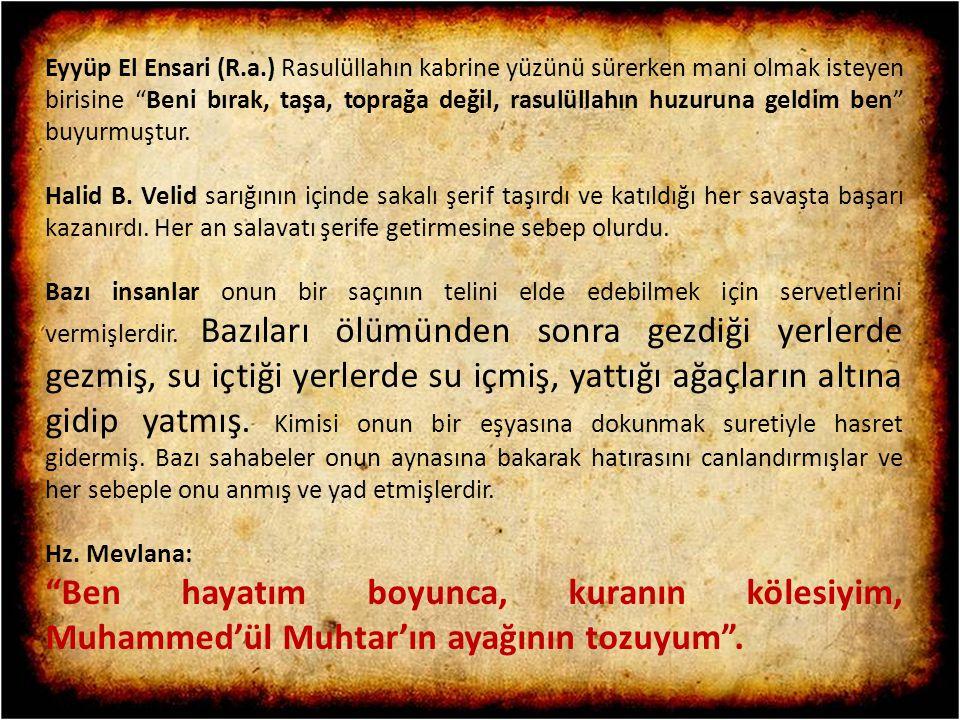 """Eyyüp El Ensari (R.a.) Rasulüllahın kabrine yüzünü sürerken mani olmak isteyen birisine """"Beni bırak, taşa, toprağa değil, rasulüllahın huzuruna geldim"""