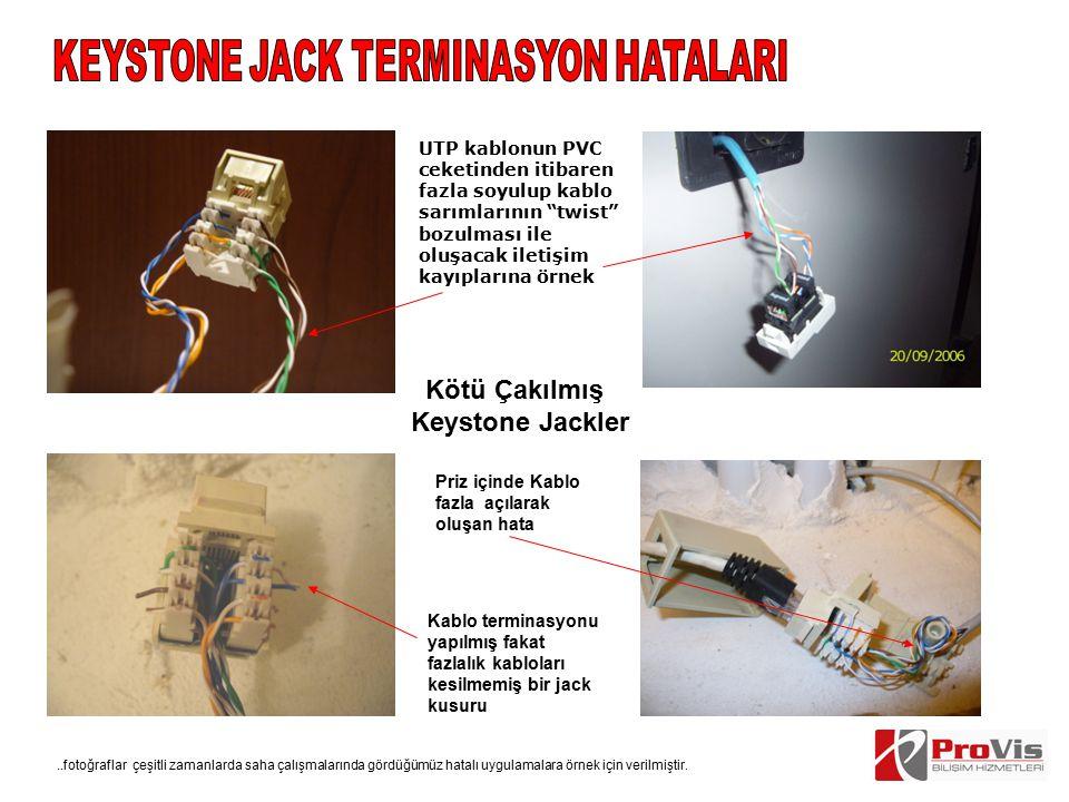 """UTP kablonun PVC ceketinden itibaren fazla soyulup kablo sarımlarının """"twist"""" bozulması ile oluşacak iletişim kayıplarına örnek Kötü Çakılmış Keystone"""