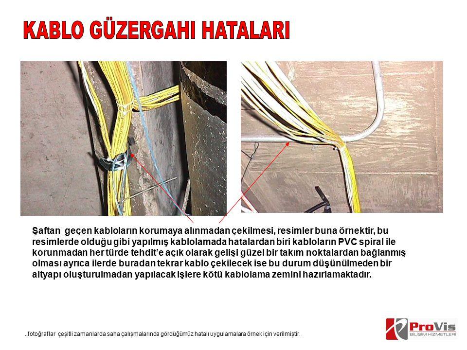 Şaftan geçen kabloların korumaya alınmadan çekilmesi, resimler buna örnektir, bu resimlerde olduğu gibi yapılmış kablolamada hatalardan biri kabloları