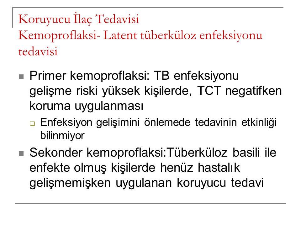 Koruyucu İlaç Tedavisi Kemoproflaksi- Latent tüberküloz enfeksiyonu tedavisi Primer kemoproflaksi: TB enfeksiyonu gelişme riski yüksek kişilerde, TCT