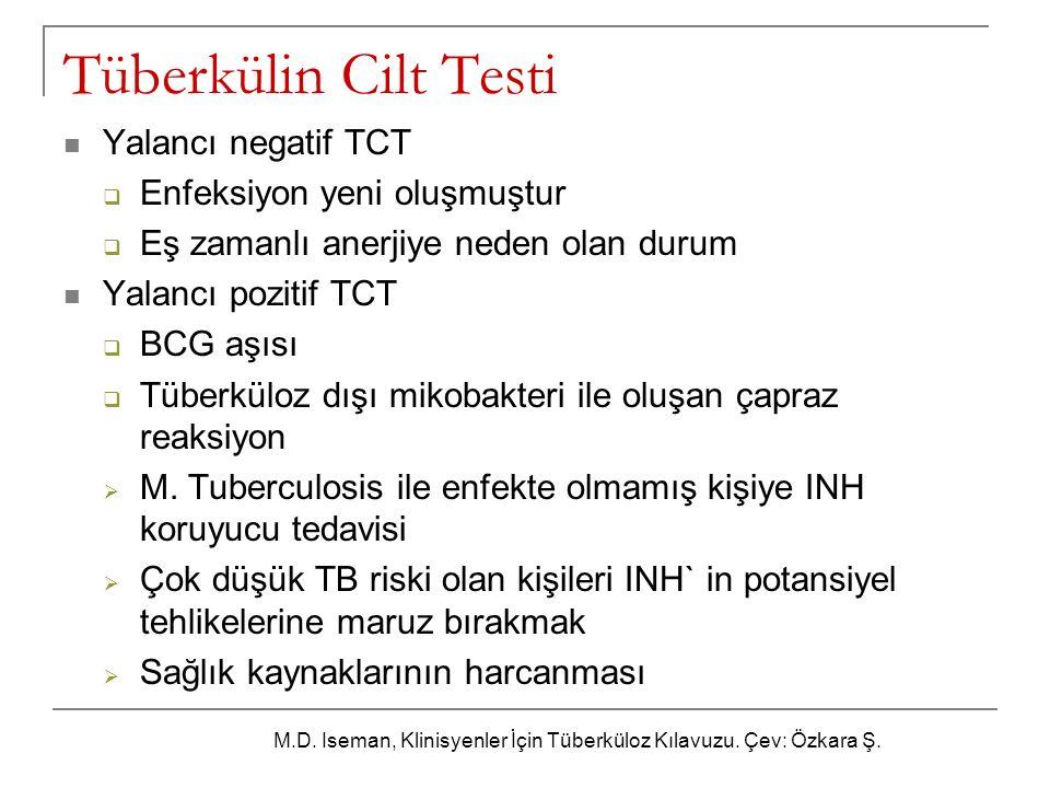 Tüberkülin Cilt Testi Yalancı negatif TCT  Enfeksiyon yeni oluşmuştur  Eş zamanlı anerjiye neden olan durum Yalancı pozitif TCT  BCG aşısı  Tüberk