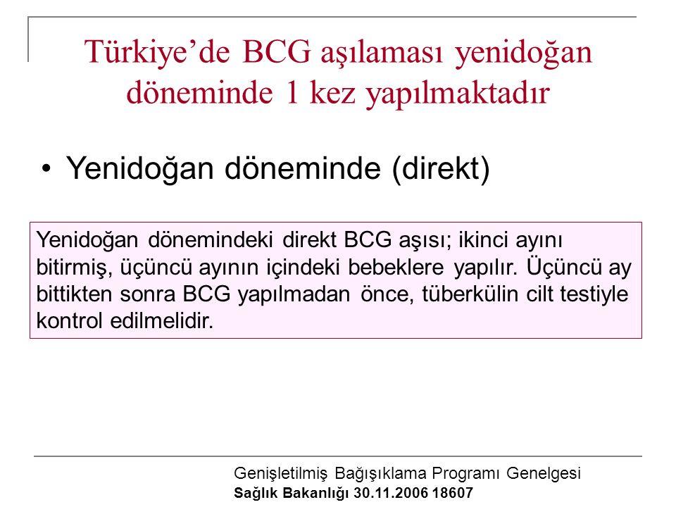 Türkiye'de BCG aşılaması yenidoğan döneminde 1 kez yapılmaktadır Yenidoğan döneminde (direkt) Yenidoğan dönemindeki direkt BCG aşısı; ikinci ayını bit