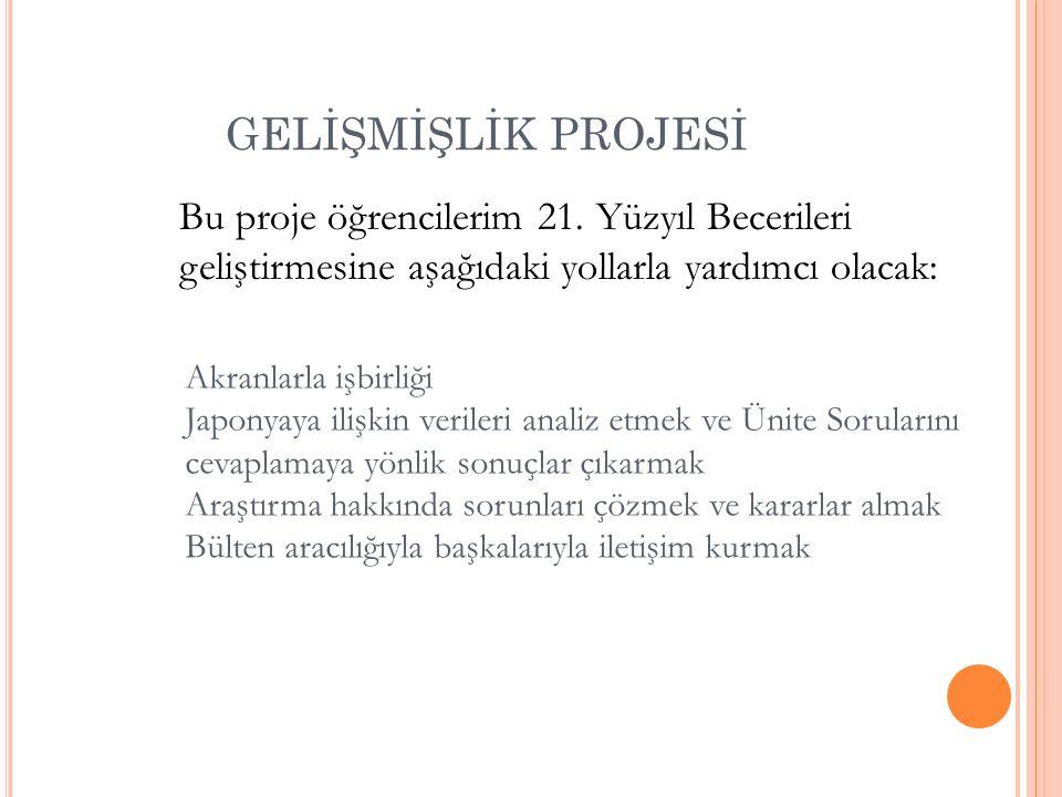 GELİŞMİŞLİK PROJESİ Bu proje öğrencilerim 21.