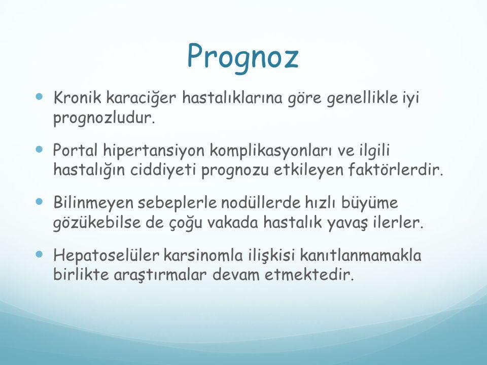 Prognoz Kronik karaciğer hastalıklarına göre genellikle iyi prognozludur. Portal hipertansiyon komplikasyonları ve ilgili hastalığın ciddiyeti prognoz
