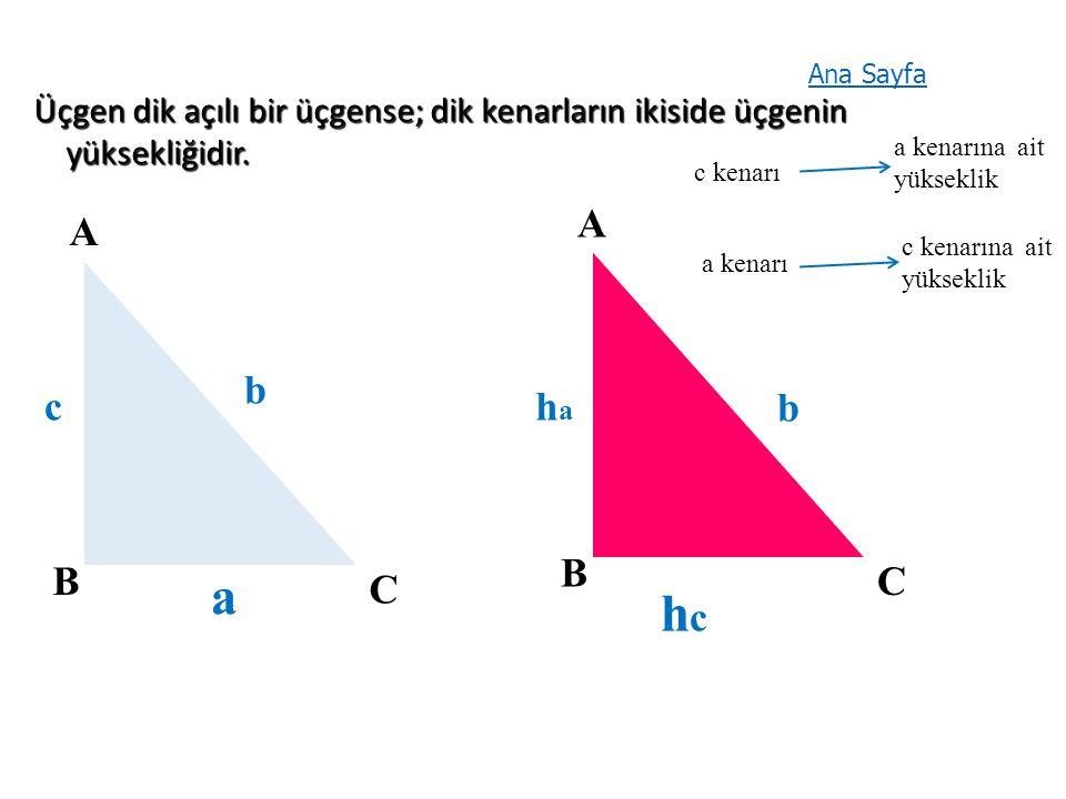 Üçgen dik açılı bir üçgense; dik kenarların ikiside üçgenin yüksekliğidir.