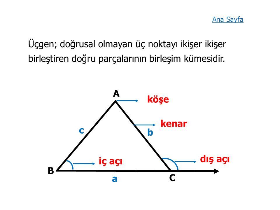Üçgen; doğrusal olmayan üç noktayı ikişer ikişer birleştiren doğru parçalarının birleşim kümesidir.