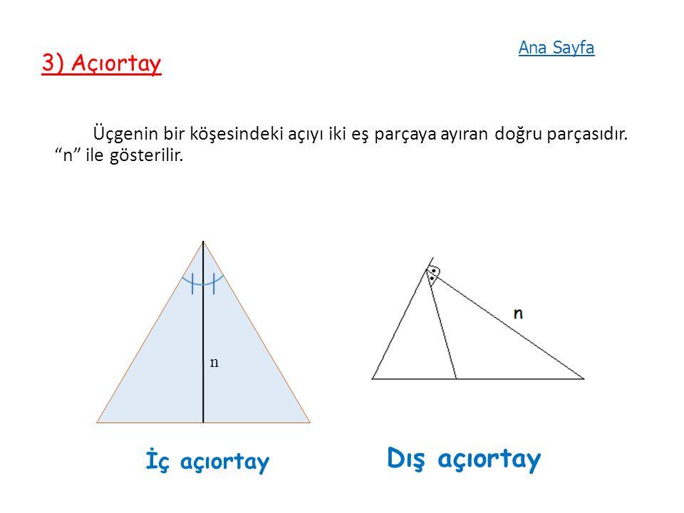3) Açıortay Üçgenin bir köşesindeki açıyı iki eş parçaya ayıran doğru parçasıdır.