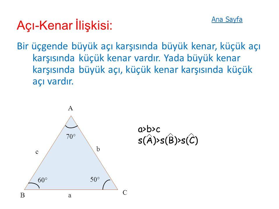 Açı-Kenar İlişkisi: Bir üçgende büyük açı karşısında büyük kenar, küçük açı karşısında küçük kenar vardır.