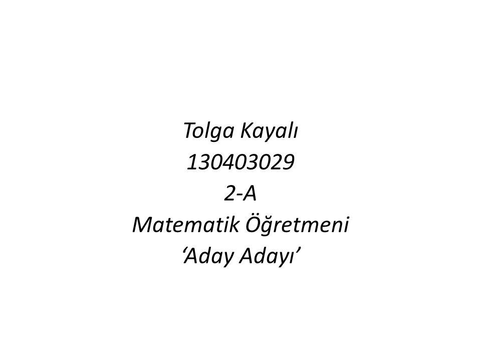 Tolga Kayalı 130403029 2-A Matematik Öğretmeni 'Aday Adayı'