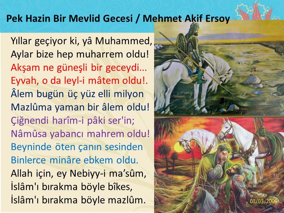 Yıllar geçiyor ki, yâ Muhammed, Aylar bize hep muharrem oldu! Akşam ne güneşli bir geceydi... Eyvah, o da leyl-i mâtem oldu!. Âlem bugün üç yüz elli m