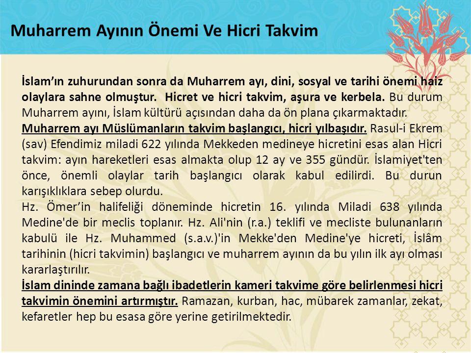 İslam'ın zuhurundan sonra da Muharrem ayı, dini, sosyal ve tarihi önemi haiz olaylara sahne olmuştur. Hicret ve hicri takvim, aşura ve kerbela. Bu dur