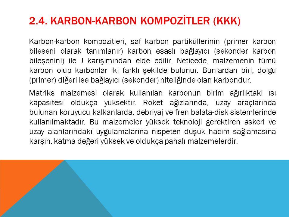 2.4. KARBON-KARBON KOMPOZİTLER (KKK) Karbon-karbon kompozitleri, saf karbon partiküllerinin (primer karbon bileşeni olarak tanımlanır) karbon esaslı b