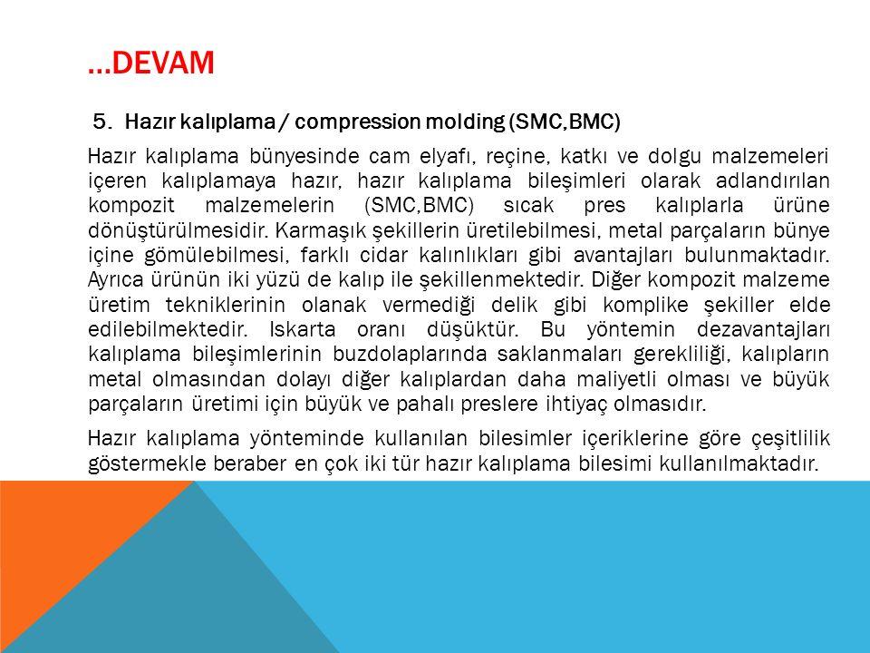 …DEVAM 5. Hazır kalıplama / compression molding (SMC,BMC) Hazır kalıplama bünyesinde cam elyafı, reçine, katkı ve dolgu malzemeleri içeren kalıplamaya