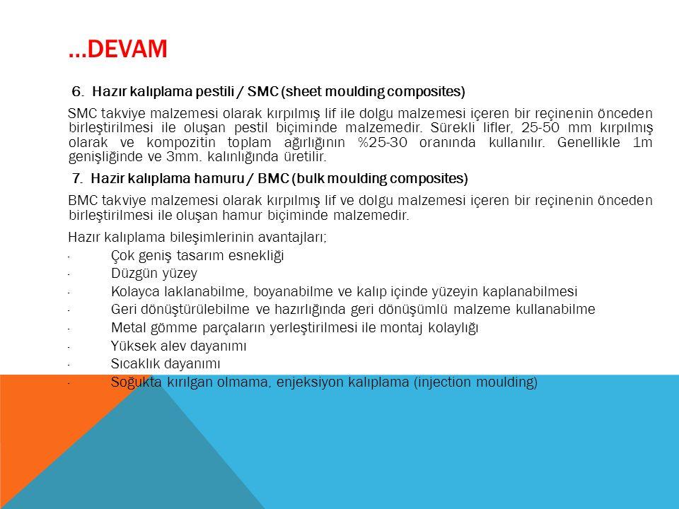 …DEVAM 6. Hazır kalıplama pestili / SMC (sheet moulding composites) SMC takviye malzemesi olarak kırpılmış lif ile dolgu malzemesi içeren bir reçineni