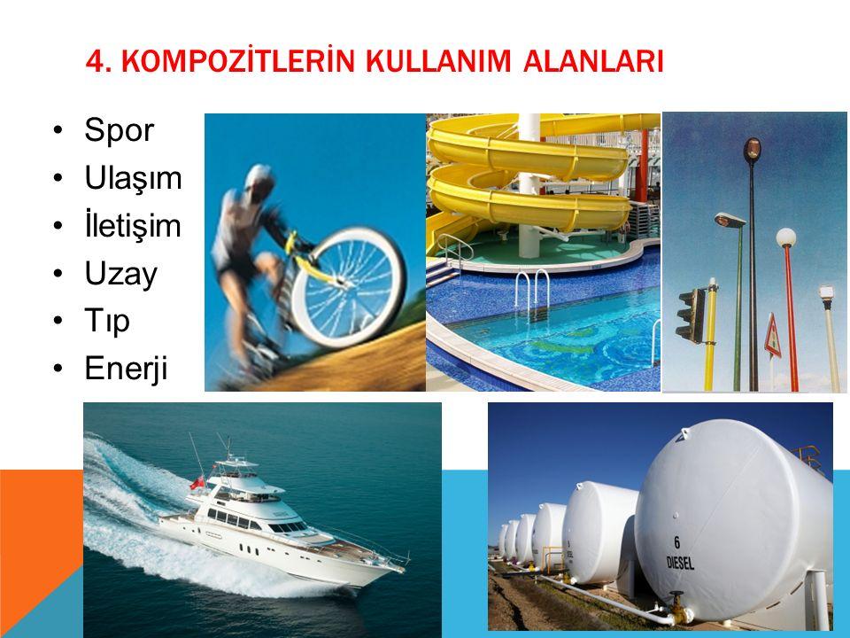 4. KOMPOZİTLERİN KULLANIM ALANLARI Spor Ulaşım İletişim Uzay Tıp Enerji