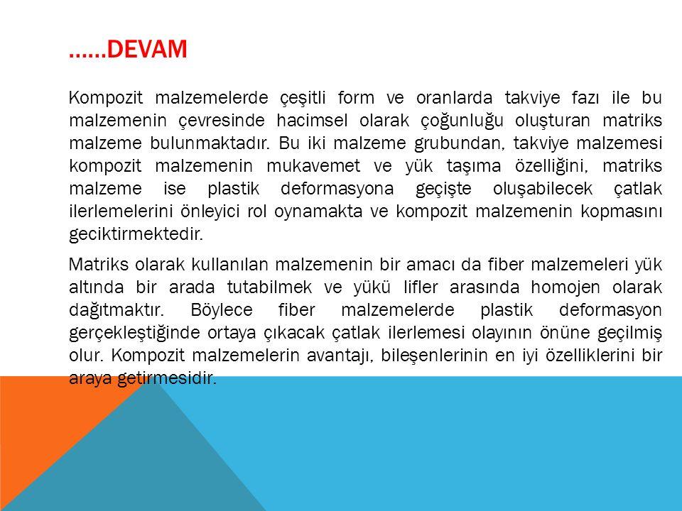……DEVAM Kompozit malzemelerde çeşitli form ve oranlarda takviye fazı ile bu malzemenin çevresinde hacimsel olarak çoğunluğu oluşturan matriks malzeme