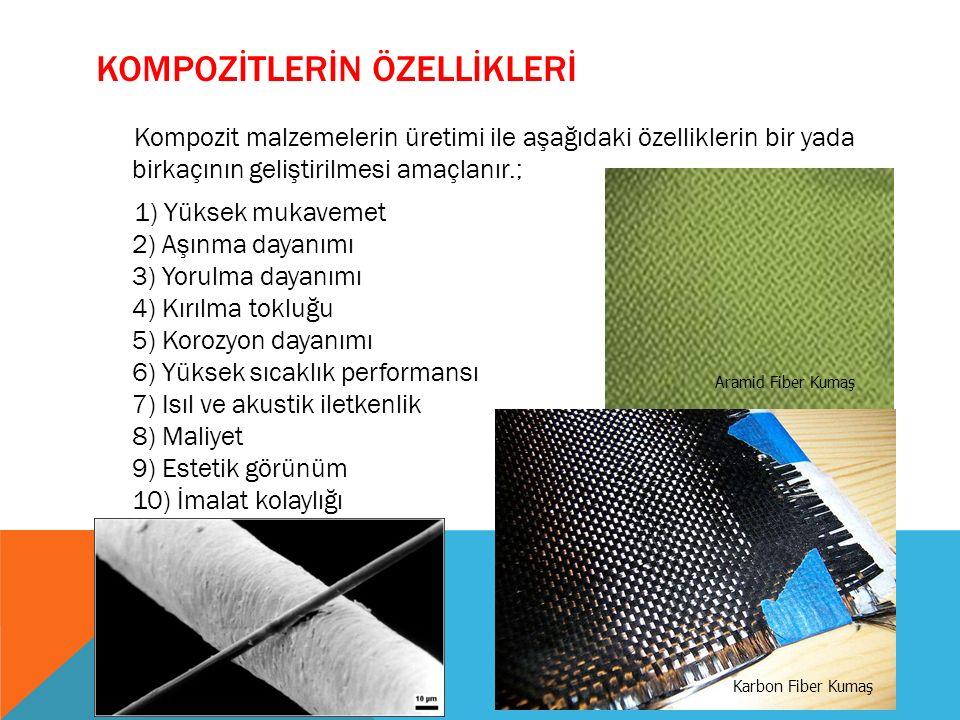 KOMPOZİTLERİN ÖZELLİKLERİ Kompozit malzemelerin üretimi ile aşağıdaki özelliklerin bir yada birkaçının geliştirilmesi amaçlanır.; 1) Yüksek mukavemet