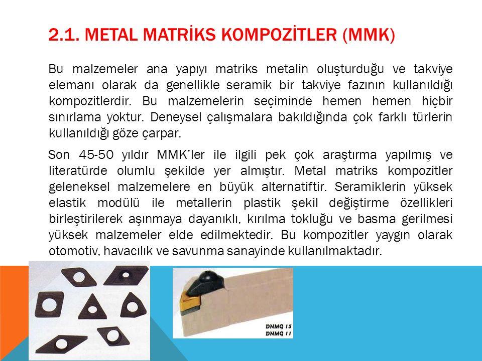 2.1. METAL MATRİKS KOMPOZİTLER (MMK) Bu malzemeler ana yapıyı matriks metalin oluşturduğu ve takviye elemanı olarak da genellikle seramik bir takviye