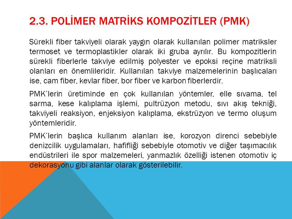2.3. POLİMER MATRİKS KOMPOZİTLER (PMK) Sürekli fiber takviyeli olarak yaygın olarak kullanılan polimer matriksler termoset ve termoplastikler olarak i