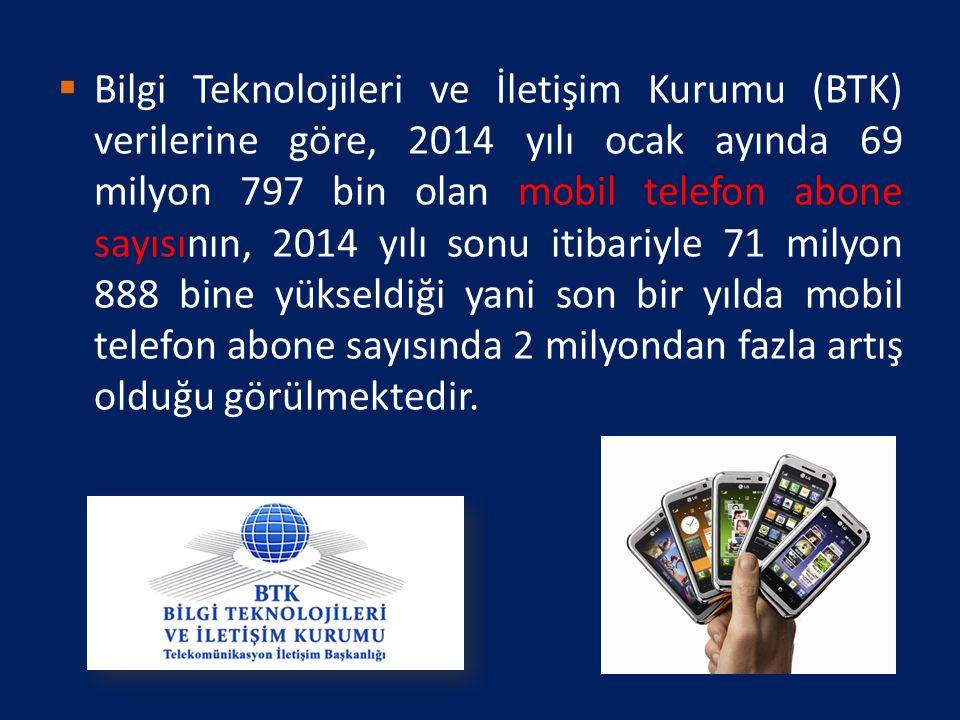  Bilgi Teknolojileri ve İletişim Kurumu (BTK) verilerine göre, 2014 yılı ocak ayında 69 milyon 797 bin olan mobil telefon abone sayısının, 2014 yılı