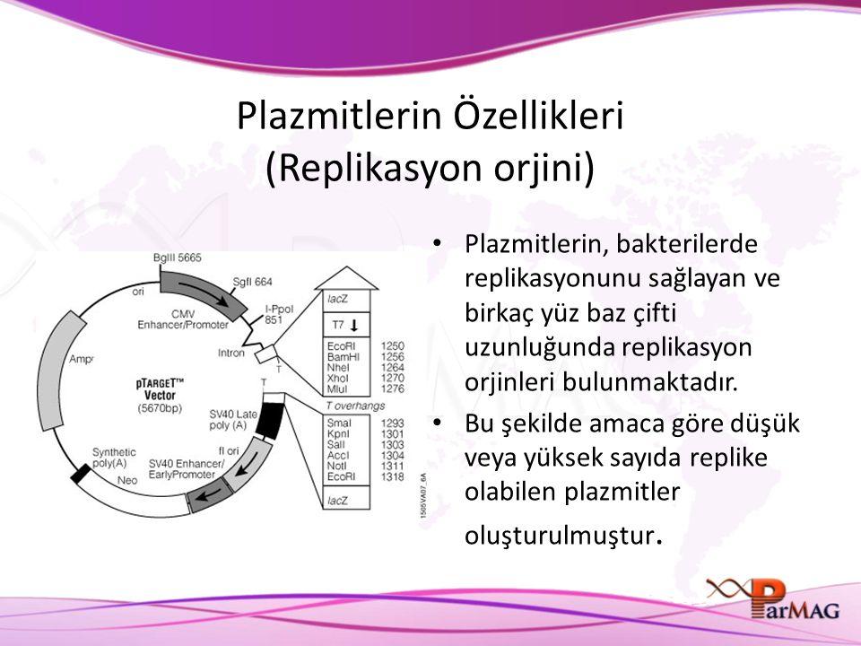 Plazmitlerin Özellikleri (Replikasyon orjini) Plazmitlerin, bakterilerde replikasyonunu sağlayan ve birkaç yüz baz çifti uzunluğunda replikasyon orjinleri bulunmaktadır.
