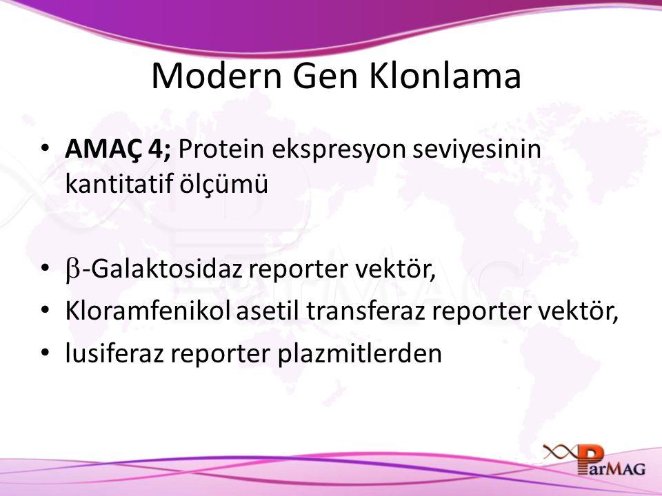 Modern Gen Klonlama AMAÇ 4; Protein ekspresyon seviyesinin kantitatif ölçümü  -Galaktosidaz reporter vektör, Kloramfenikol asetil transferaz reporter vektör, lusiferaz reporter plazmitlerden