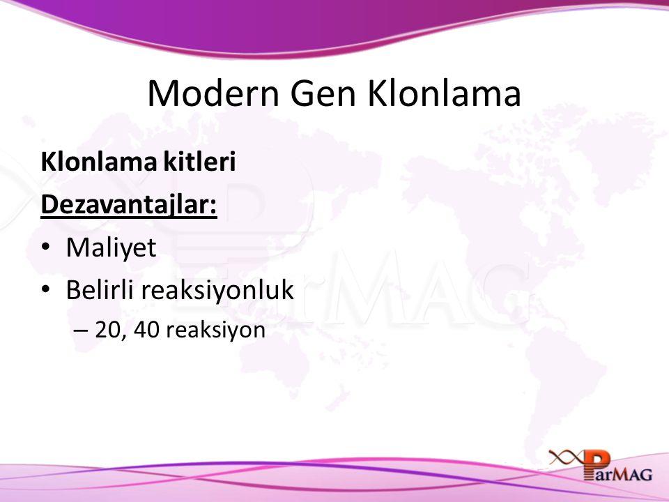Modern Gen Klonlama Klonlama kitleri Dezavantajlar: Maliyet Belirli reaksiyonluk – 20, 40 reaksiyon