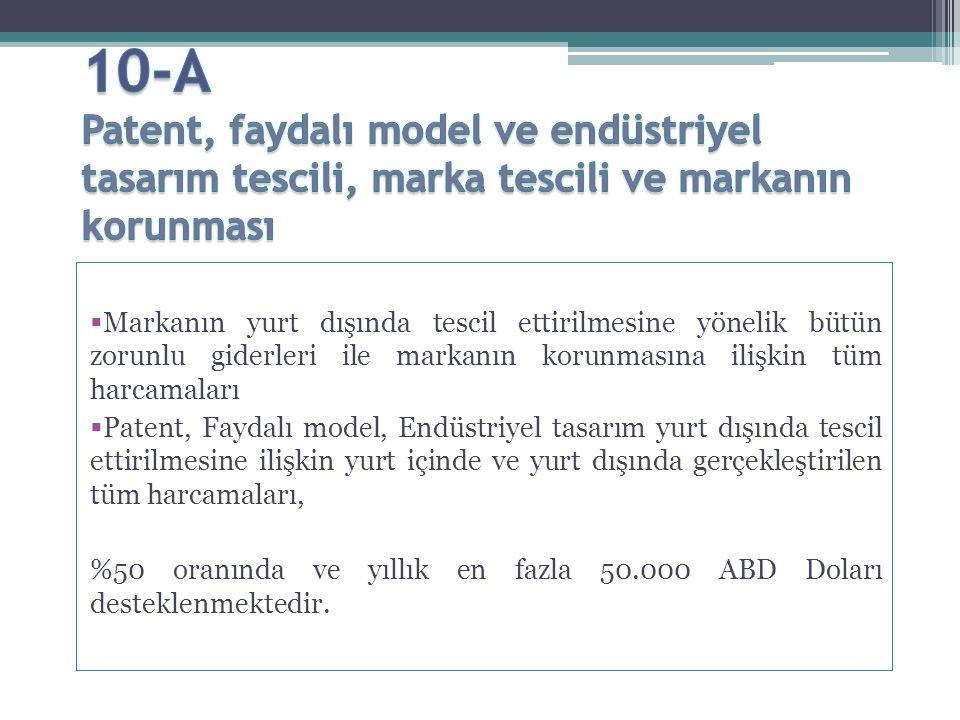  Hedef Pazar olarak belirledikleri ülkelerde gerçekleştirdikleri, EK-1'de belirtilen tanıtım faaliyetleri %50 oranında ve yıllık en fazla 400.000 ABD Doları desteklenmektedir.