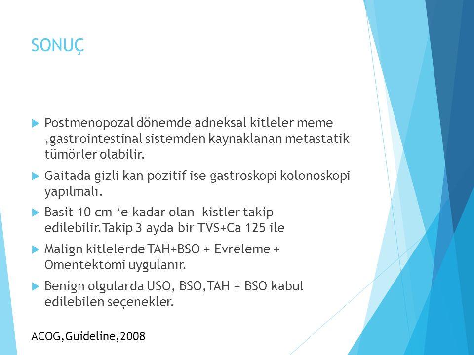 SONUÇ  Postmenopozal dönemde adneksal kitleler meme,gastrointestinal sistemden kaynaklanan metastatik tümörler olabilir.