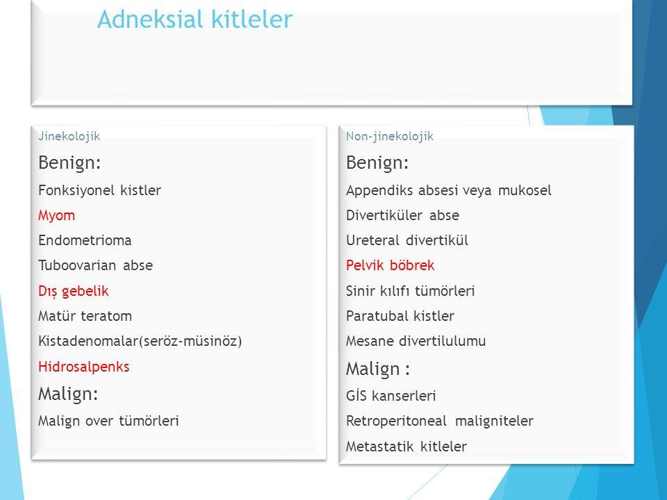 Adneksial kitleler Jinekolojik Benign: Fonksiyonel kistler Myom Endometrioma Tuboovarian abse Dış gebelik Matür teratom Kistadenomalar(seröz-müsinöz) Hidrosalpenks Malign: Malign over tümörleri Jinekolojik Benign: Fonksiyonel kistler Myom Endometrioma Tuboovarian abse Dış gebelik Matür teratom Kistadenomalar(seröz-müsinöz) Hidrosalpenks Malign: Malign over tümörleri Non-jinekolojik Benign: Appendiks absesi veya mukosel Divertiküler abse Ureteral divertikül Pelvik böbrek Sinir kılıfı tümörleri Paratubal kistler Mesane divertilulumu Malign : GİS kanserleri Retroperitoneal maligniteler Metastatik kitleler Non-jinekolojik Benign: Appendiks absesi veya mukosel Divertiküler abse Ureteral divertikül Pelvik böbrek Sinir kılıfı tümörleri Paratubal kistler Mesane divertilulumu Malign : GİS kanserleri Retroperitoneal maligniteler Metastatik kitleler