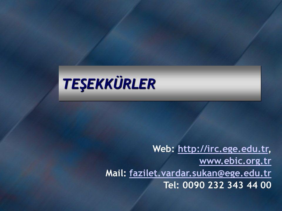 TEŞEKKÜRLERTEŞEKKÜRLER Web: http://irc.ege.edu.tr,http://irc.ege.edu.tr www.ebic.org.tr Mail: fazilet.vardar.sukan@ege.edu.trfazilet.vardar.sukan@ege.edu.tr Tel: 0090 232 343 44 00