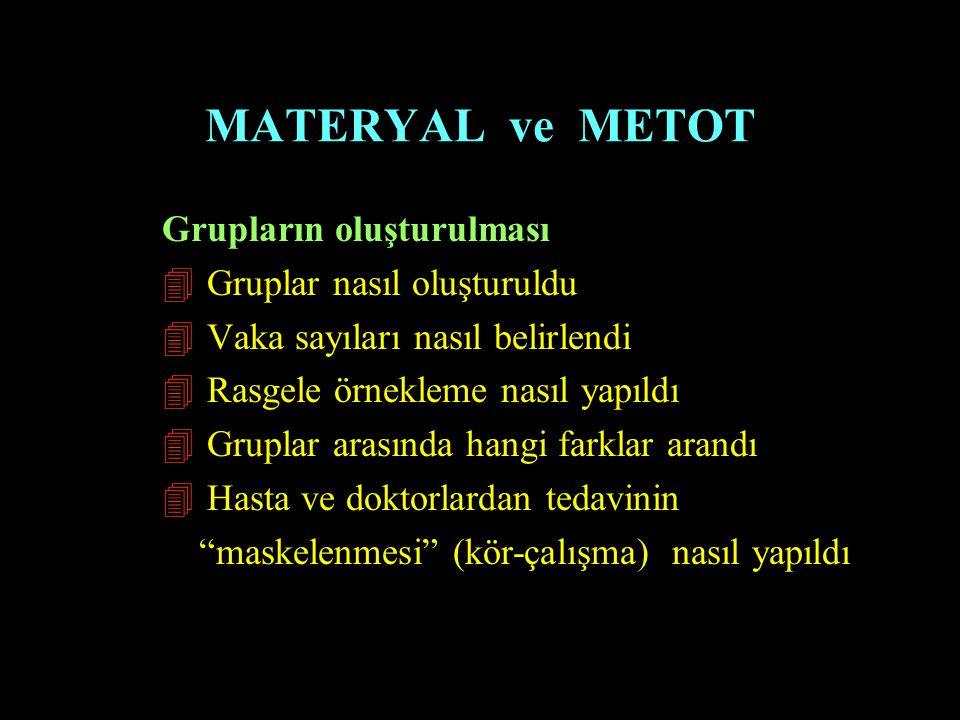 MATERYAL ve METOT Grupların oluşturulması 4 Gruplar nasıl oluşturuldu 4 Vaka sayıları nasıl belirlendi 4 Rasgele örnekleme nasıl yapıldı 4 Gruplar ara