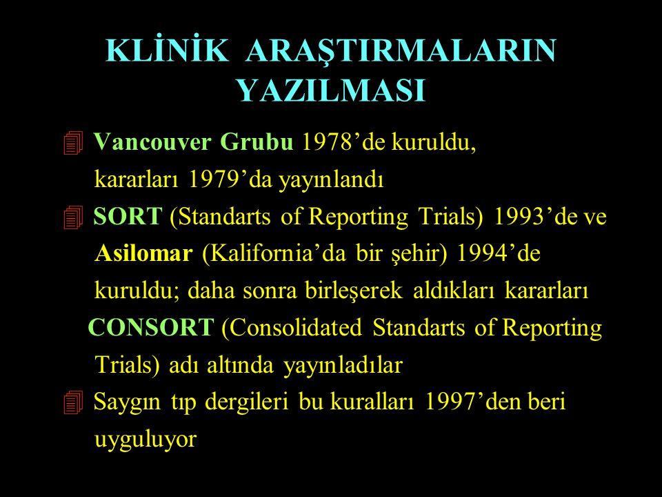 KLİNİK ARAŞTIRMALARIN YAZILMASI 4 Vancouver Grubu 1978'de kuruldu, kararları 1979'da yayınlandı 4 SORT (Standarts of Reporting Trials) 1993'de ve Asil