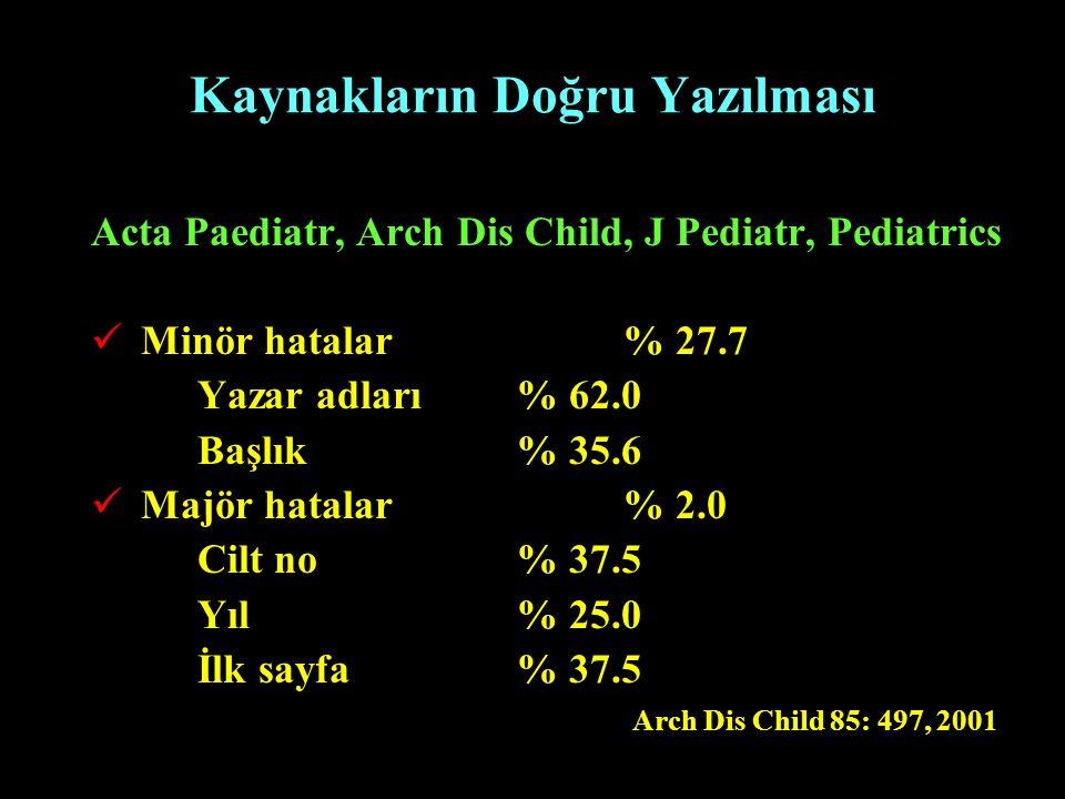 Kaynakların Doğru Yazılması Acta Paediatr, Arch Dis Child, J Pediatr, Pediatrics Minör hatalar % 27.7 Yazar adları % 62.0 Başlık% 35.6 Majör hatalar %