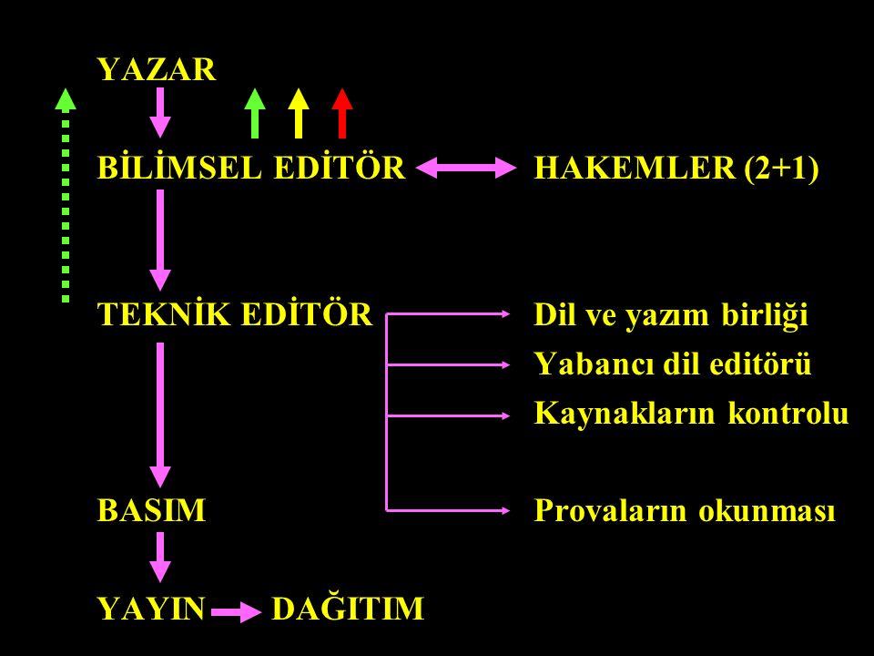 YAZAR BİLİMSEL EDİTÖRHAKEMLER (2+1) TEKNİK EDİTÖRDil ve yazım birliği Yabancı dil editörü Kaynakların kontrolu BASIMProvaların okunması YAYINDAĞITIM