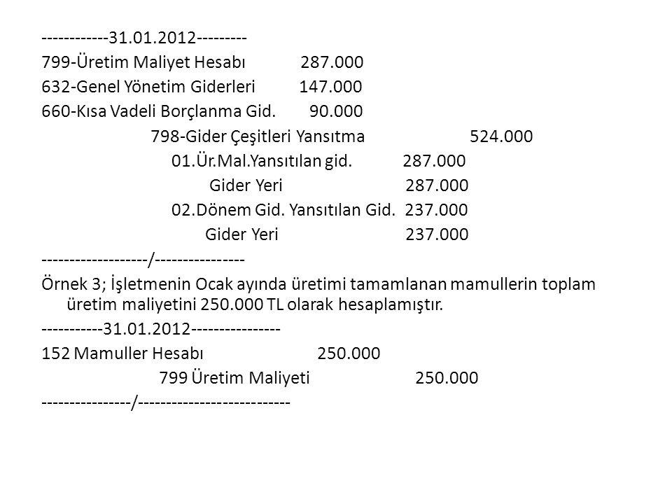------------31.01.2012--------- 799-Üretim Maliyet Hesabı 287.000 632-Genel Yönetim Giderleri 147.000 660-Kısa Vadeli Borçlanma Gid. 90.000 798-Gider
