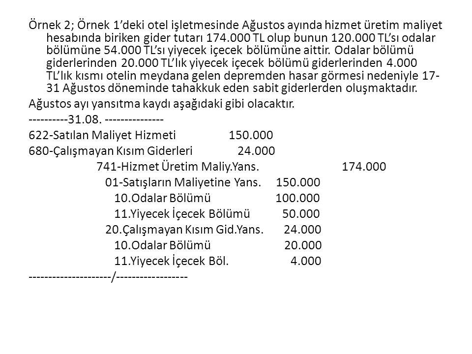 Örnek 2; Örnek 1'deki otel işletmesinde Ağustos ayında hizmet üretim maliyet hesabında biriken gider tutarı 174.000 TL olup bunun 120.000 TL'sı odalar