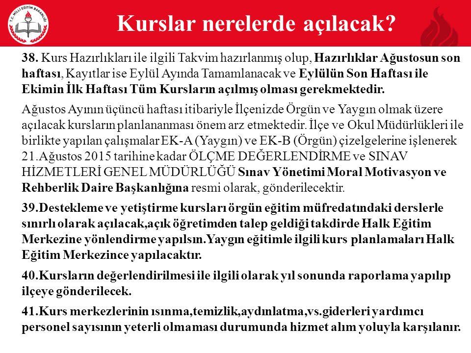 20 Kurs Programı Kapsamı: Matematik, Geometri, Fizik, Kimya, Biyoloji, Türk Edebiyatı, Tarih, Coğrafya, Felsefe.