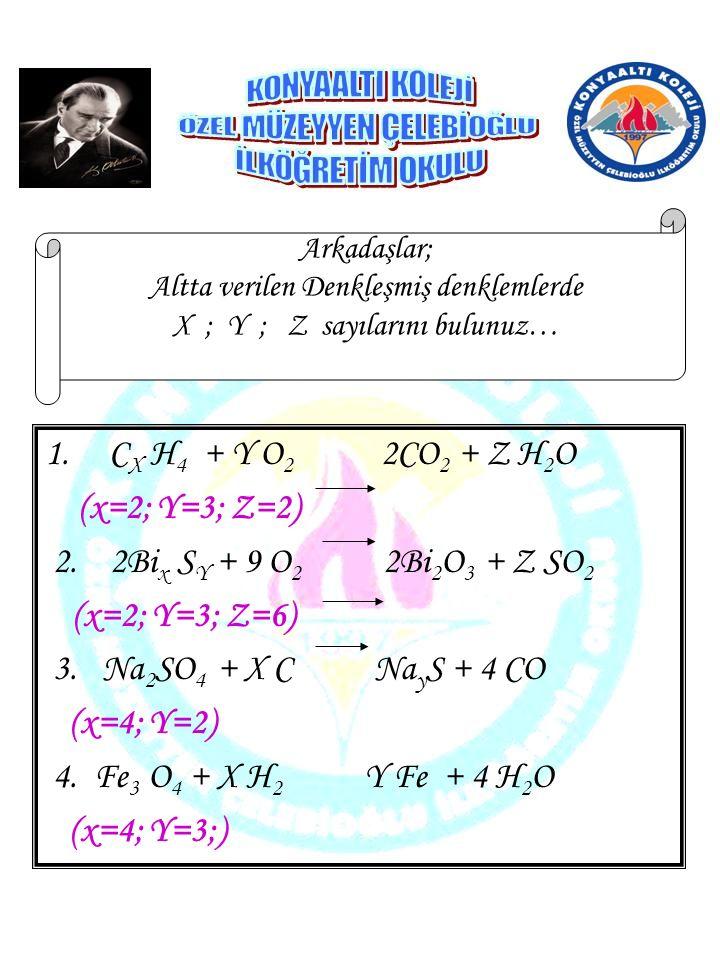 1.C X H 4 + Y O 2 2CO 2 + Z H 2 O (x=2; Y=3; Z=2) 2. 2Bi x S Y + 9 O 2 2Bi 2 O 3 + Z SO 2 (x=2; Y=3; Z=6) 3. Na 2 SO 4 + X C Na y S + 4 CO (x=4; Y=2)