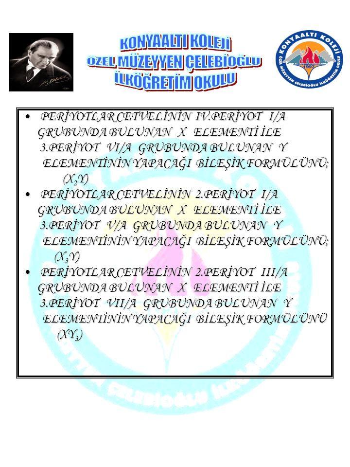 PERİYOTLAR CETVELİNİN II.PERİYOT II/APERİYOTLAR CETVELİNİN II.PERİYOT II/A GRUBUNDA BULUNAN X ELEMENTİ İLE GRUBUNDA BULUNAN X ELEMENTİ İLE 3.PERİYOT V/A GRUBUNDA BULUNAN Y 3.PERİYOT V/A GRUBUNDA BULUNAN Y ELEMENTİNİN YAPACAĞI BİLEŞİK FORMÜLÜNÜ; ELEMENTİNİN YAPACAĞI BİLEŞİK FORMÜLÜNÜ; (X 3 Y 2 ) (X 3 Y 2 ) PERİYOTLAR CETVELİNİN 2.PERİYOT I I/APERİYOTLAR CETVELİNİN 2.PERİYOT I I/A GRUBUNDA BULUNAN X ELEMENTİ İLE GRUBUNDA BULUNAN X ELEMENTİ İLE 3.PERİYOT VII/A GRUBUNDA BULUNAN Y 3.PERİYOT VII/A GRUBUNDA BULUNAN Y ELEMENTİNİN YAPACAĞI BİLEŞİK FORMÜLÜNÜ ELEMENTİNİN YAPACAĞI BİLEŞİK FORMÜLÜNÜ YAZINIZ.