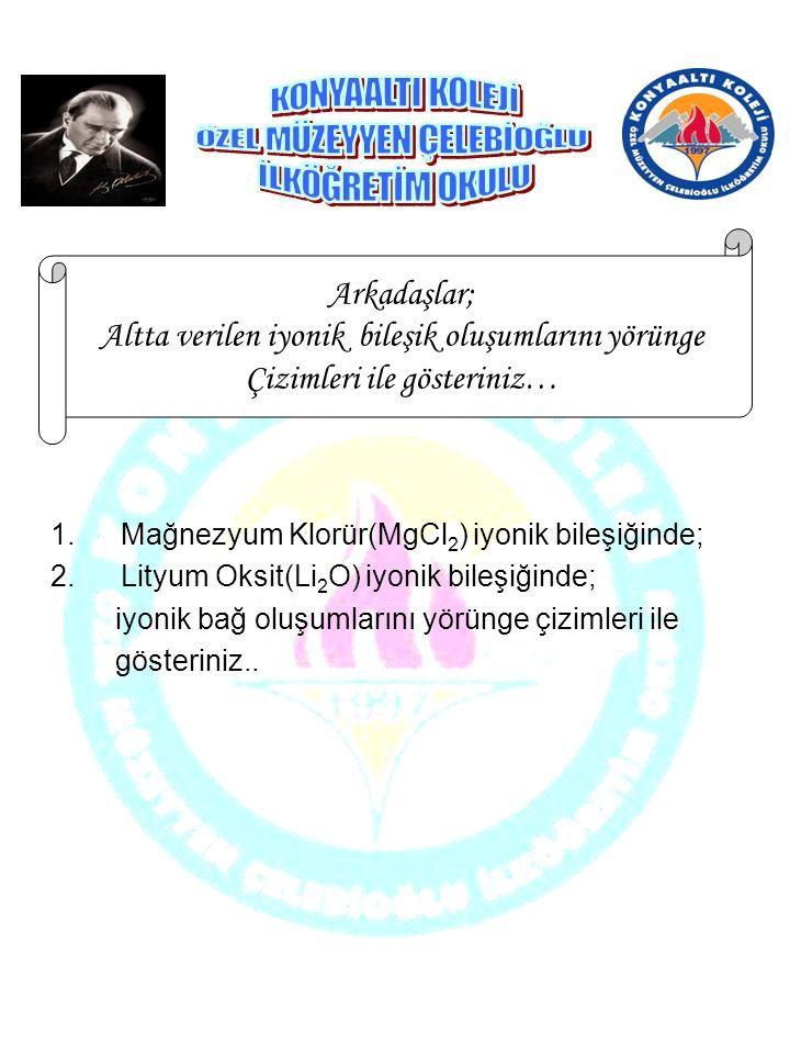 1.Mağnezyum Klorür(MgCl 2 ) iyonik bileşiğinde; 2.Lityum Oksit(Li 2 O) iyonik bileşiğinde; iyonik bağ oluşumlarını yörünge çizimleri ile gösteriniz..