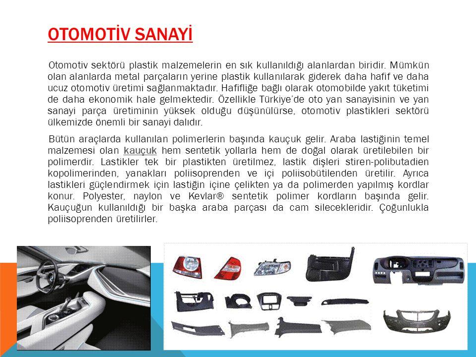OTOMOTİV SANAYİ Otomotiv sektörü plastik malzemelerin en sık kullanıldığı alanlardan biridir. Mümkün olan alanlarda metal parçaların yerine plastik ku