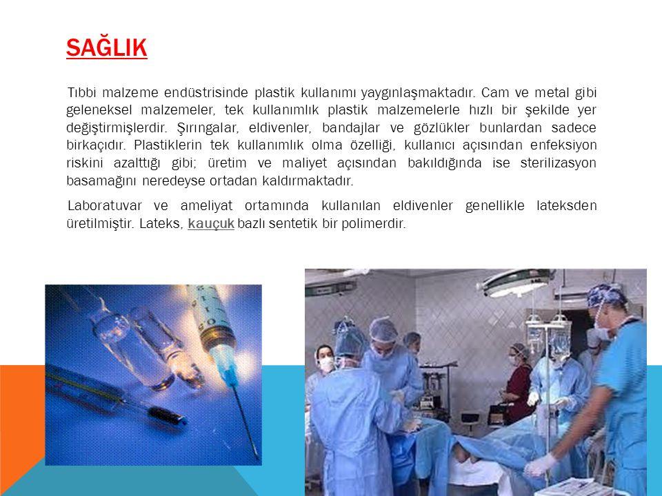 SAĞLIK Tıbbi malzeme endüstrisinde plastik kullanımı yaygınlaşmaktadır. Cam ve metal gibi geleneksel malzemeler, tek kullanımlık plastik malzemelerle