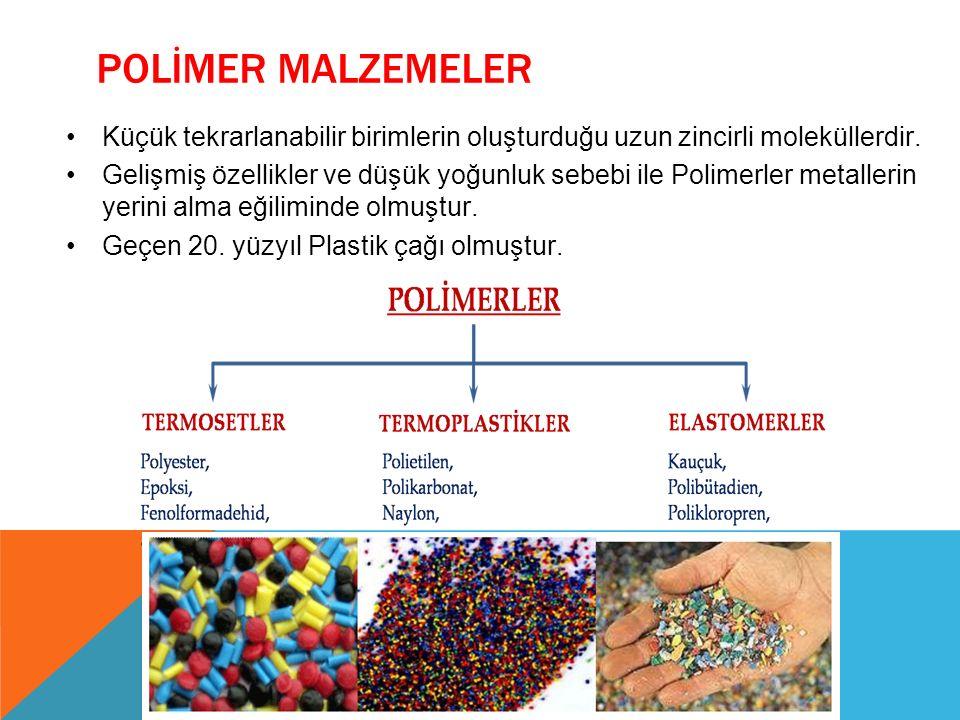POLİMER MALZEMELER Küçük tekrarlanabilir birimlerin oluşturduğu uzun zincirli moleküllerdir. Gelişmiş özellikler ve düşük yoğunluk sebebi ile Polimerl