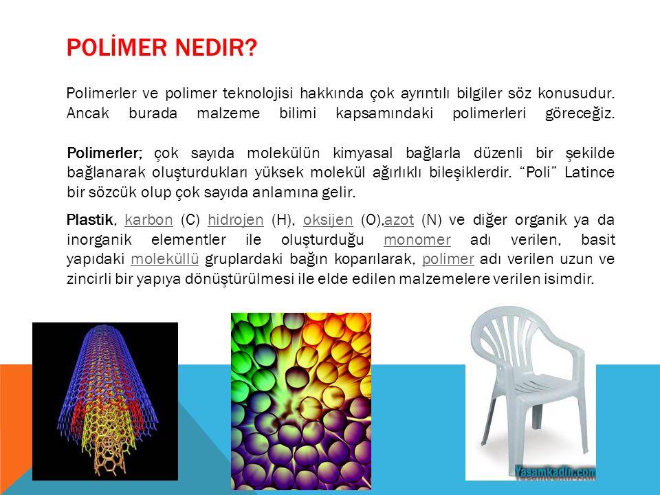 POLİMER NEDIR? Polimerler ve polimer teknolojisi hakkında çok ayrıntılı bilgiler söz konusudur. Ancak burada malzeme bilimi kapsamındaki polimerleri g