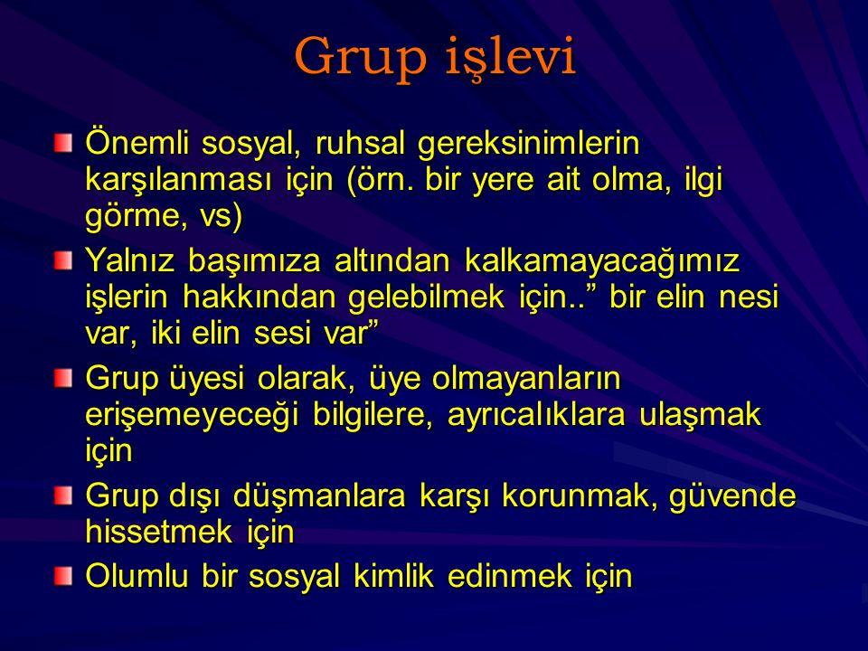 Grup işlevi Önemli sosyal, ruhsal gereksinimlerin karşılanması için (örn.