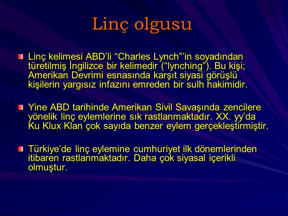 Linç olgusu Linç kelimesi ABD'li Charles Lynch 'in soyadından türetilmiş İngilizce bir kelimedir ( lynching ).